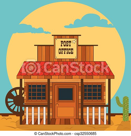 Old Western Building Post Office Vector Illustration Of An Old