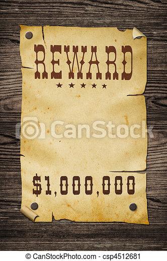 Old western reward sign. - csp4512681