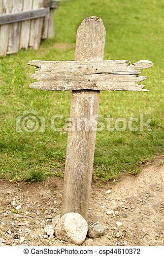 Old Western Wood Grave Cross