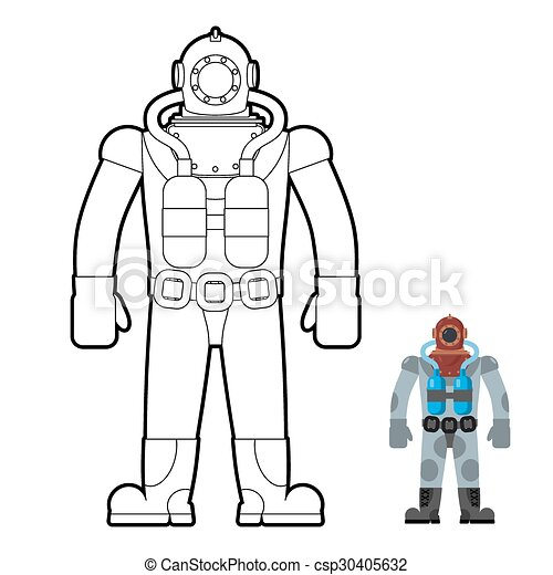 Old Wetsuit Coloring Book Diver In An Old Suit For Scuba Diving