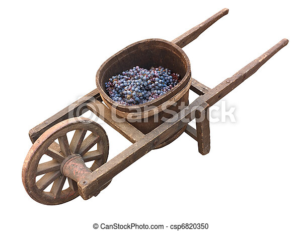 old wheelbarrow for grape transport - csp6820350