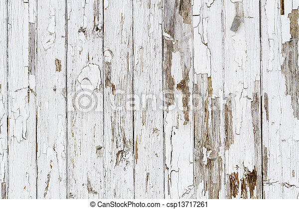Old white weathered wooden background no. 6 - csp13717261