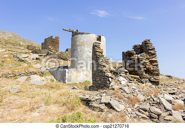 old windmills in Tinos Island, Greece - csp21270716