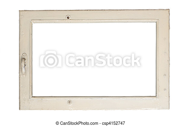 Old window frame. Very old window frame isolated on white background.