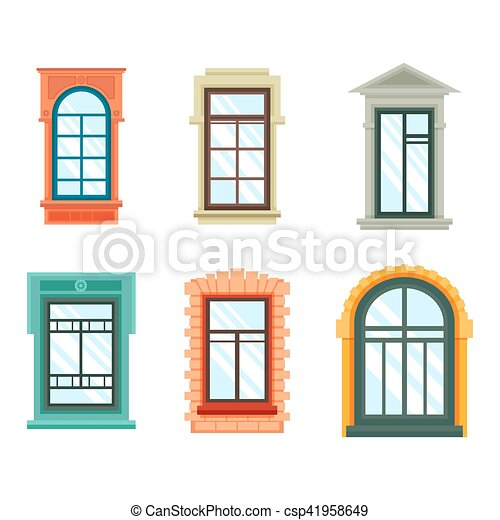 Old window frames view isolated, house wall. Old window frames view ...