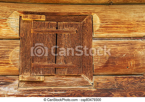 Old window of a wooden house. - csp83479300