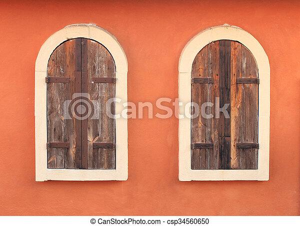 Old Window On Brick Wall - csp34560650