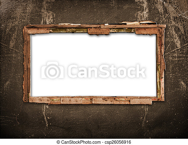 Old window on the antique wall with metal nail - csp26056916