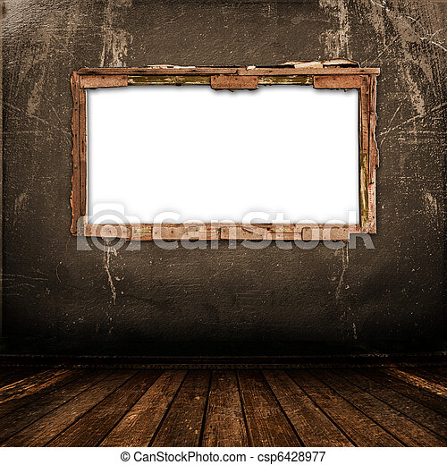 Old window on the antique wall with metal nail - csp6428977