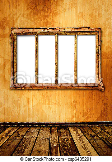 Old window on the antique wall with metal nail - csp6435291