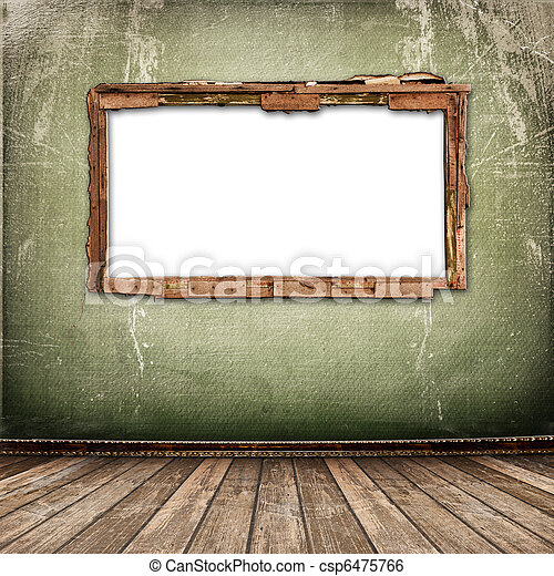 Old window on the antique wall with metal nail - csp6475766