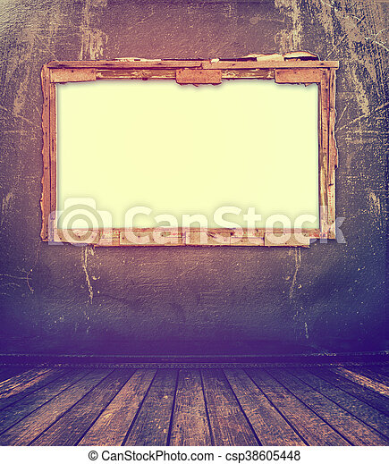 Old window on the antique wall with metal nail - csp38605448