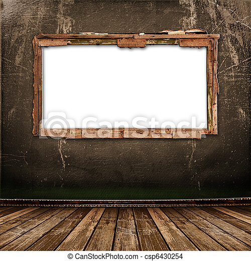Old window on the antique wall with metal nail - csp6430254