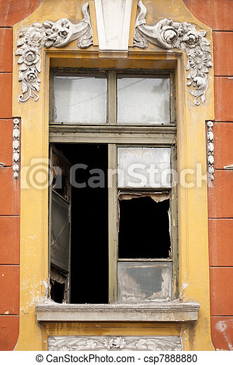 Old window with broken glass - csp7888880