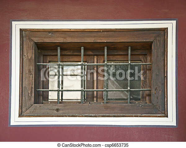 Old window with grid - csp6653735
