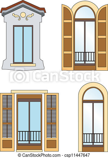 vintage window drawing. old windows - csp11447647 vintage window drawing