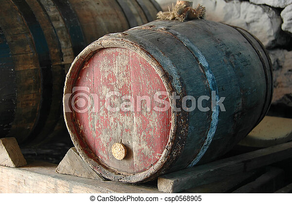Old wine barrel in a traditional Adega in Azores, Portugal - csp0568905