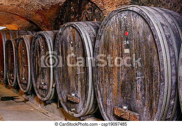 Old Wine Cellar With Barrels - csp19097485