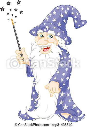old Wizard holding a magic wand - csp31438540