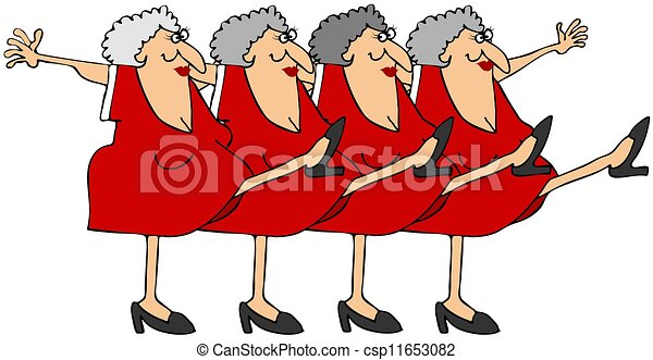 Old woman chorus line - csp11653082