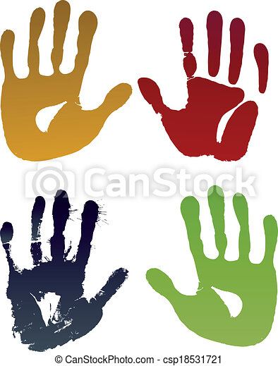 Old woman four hand prints - csp18531721