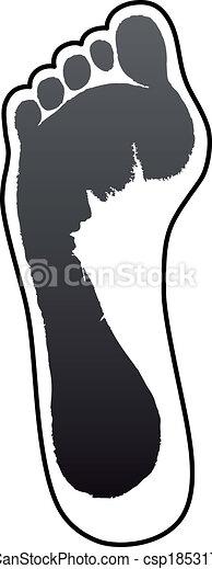 Old woman grey foot print - csp18531723
