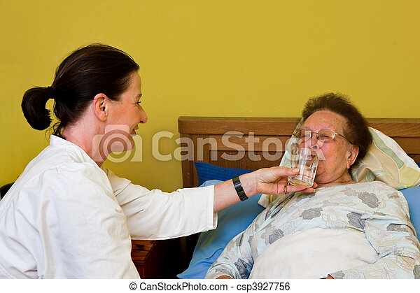old woman in a nursing care - csp3927756