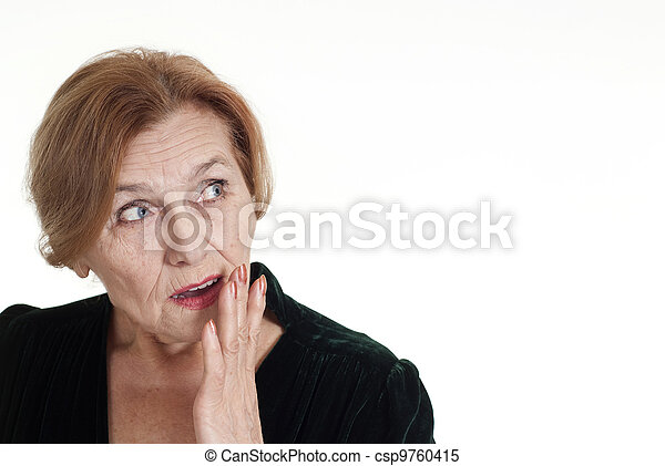 old woman in black dress standing - csp9760415