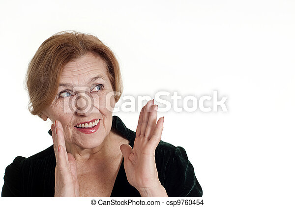 old woman in black dress standing - csp9760454