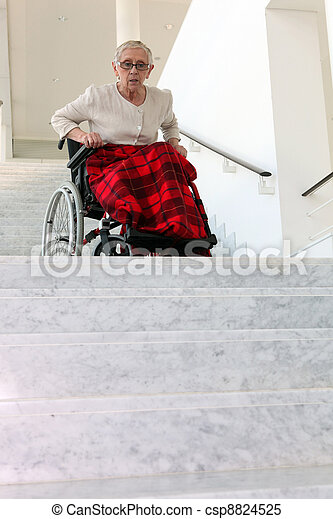 old woman in wheelchair - csp8824525