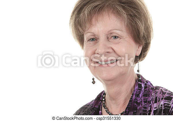 old woman smiling on a white background - csp31551330