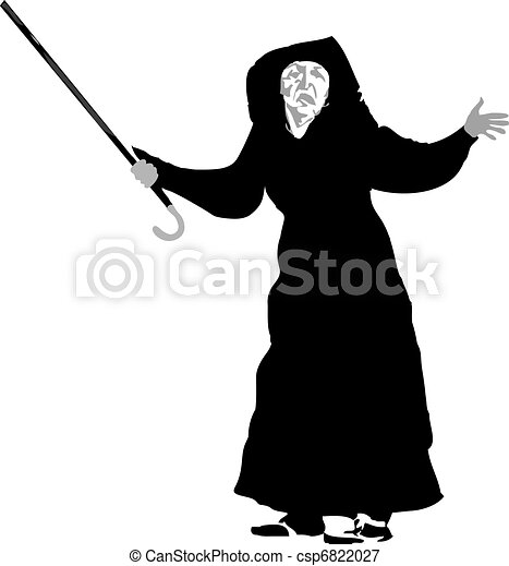 old woman with a crutch - csp6822027