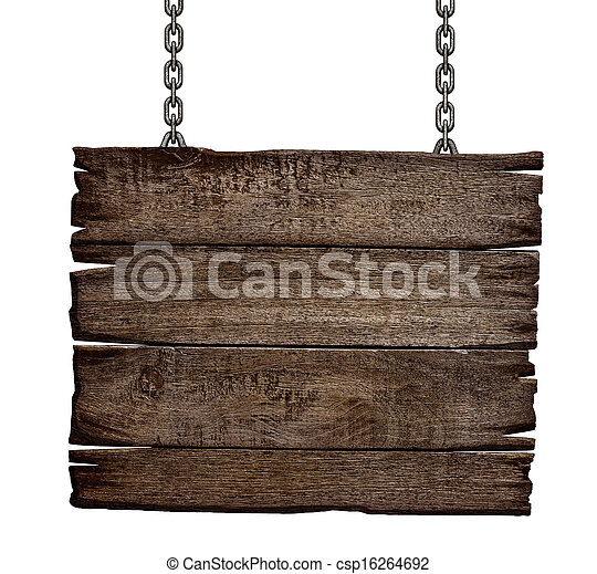 old wood sign board on chain - csp16264692