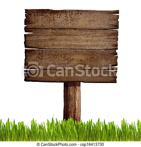 old wood sign board with grass isolated - csp16413730