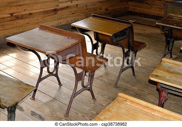 Old wood student desk