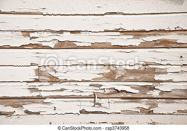 Old Wood Wall With Cracked White Paint - csp3743958