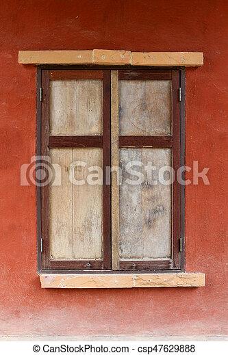 old wood window retro style - csp47629888