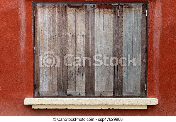 old wood window retro style - csp47629908