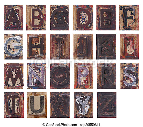 Old wooden alphabet letters - csp20559611