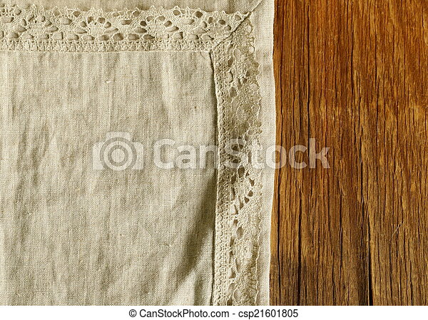old wooden background with napkin - csp21601805