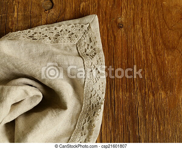 old wooden background with napkin - csp21601807