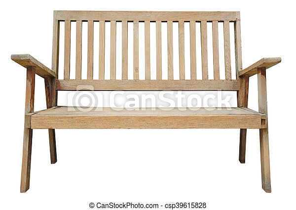Old wooden bench isolated on white background - csp39615828