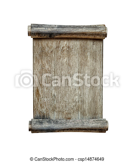Old wooden board isolated on white - csp14874649