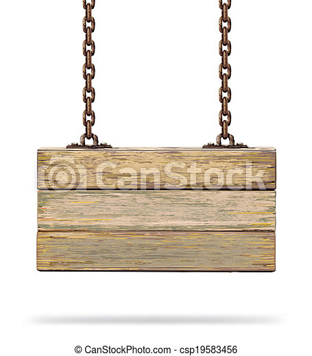 Old wooden board with rusty chain.  - csp19583456