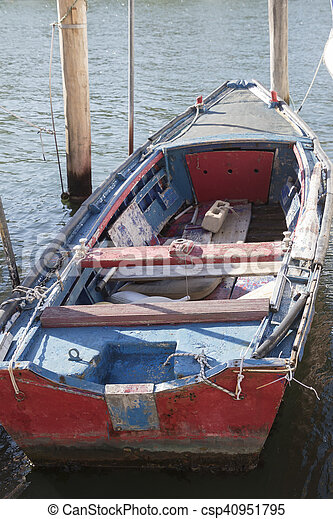 old wooden boat in the harbor - csp40951795