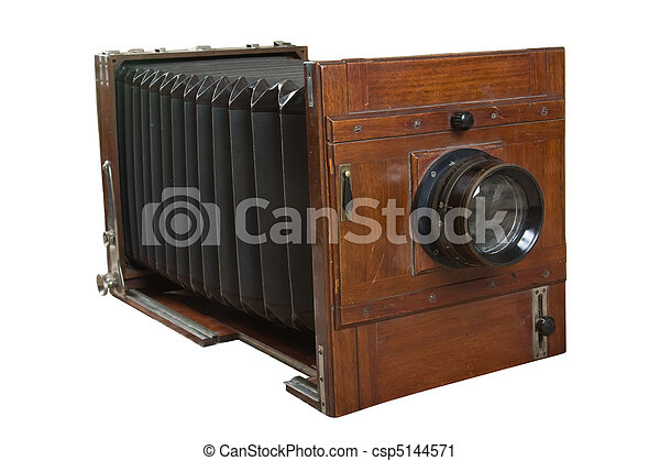 old wooden camera isolated on white - csp5144571