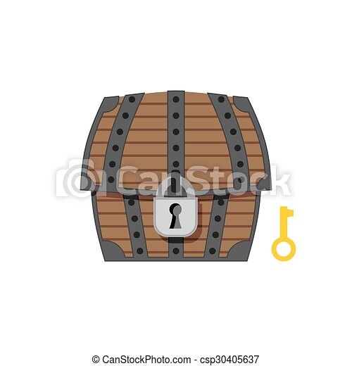 Old Wooden Chest With Lock And Key Vintage Box Closed Vector Illustration