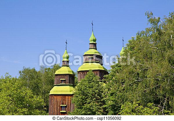 Old wooden church, Pirogovo, Kiev, Ukraine - csp11056092