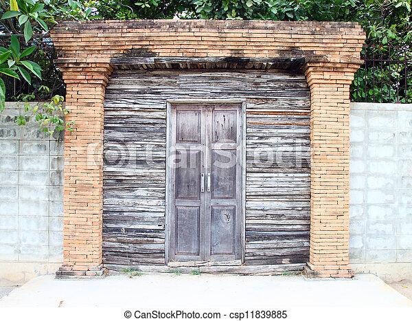 old wooden door - csp11839885