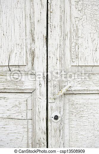 Old Wooden Door White